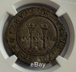 Mexico Charles & Joanna 4 Reales Cob Coin ND (1542-1555) G M NGC AU58