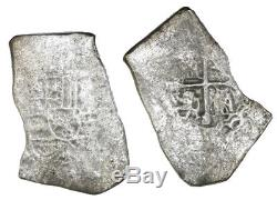 Mexico City Silver Cob 8 Reales Philip V 1715 Fleet Shipwreck Fisher Tag & COA