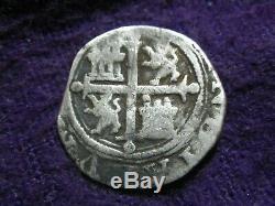 Mexico Cob 1/2 Real Phillip II Mo O Circa 1560s KM#20 Nice Condition! DUG COIN