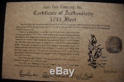 Mexico Silver Cob 8 Reale 1715 Fleet Shipwreck Coin, Mel Fisher Cobb Co. COA #192