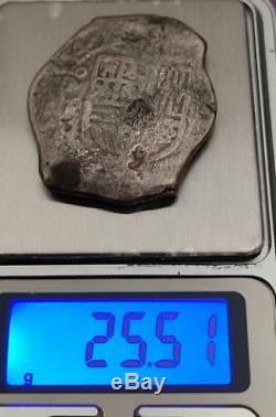 Mexico Spain Colonial 8 Reales Cob 1654 Omp River Found Cleaned Nice Rare