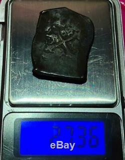 Mexico Spain Colonial 8 Reales Cob Black Not Cleaned Scarce Very Nice