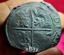 Mexico Spain Colonial 8 Reales Cob P River Found Black Not Cleaned Xf