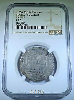 NGC 1500's Spanish Silver 4 Reales Philip II Antique Colonial Pirate Cob Coin