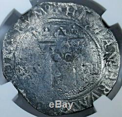 NGC 1542-55 Carlos & Joanna Mexico Silver 2 Reales Old 1500's Two Bits Cob Coin