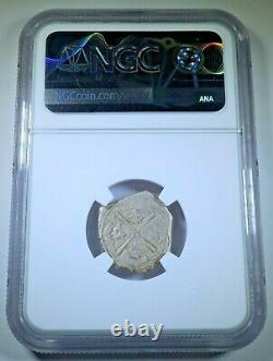 NGC 1556-98 SB Spanish Silver 1 Reales Antique VF 1500s Colonial Pirate Cob Coin