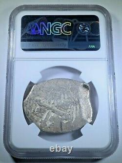 NGC 1706-14 Mexico Silver 8 Reales Genuine 1700's Spanish Dollar Pirate Cob Coin
