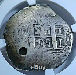 NGC 1839 Guatemala Countermark on 1739 Lima Silver 8 Reales Old Pirate Cob Coin