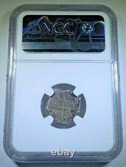 NGC AU Philip II 1500's Spanish Granada Silver 1 Reales Antique Pirate Cob Coin