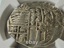 NGC Authentic (about VF) Philip III AR Cob 8 Reales. 1598-1621 AD