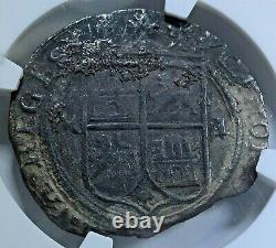 NGC Golden Fleece Shipwreck 1500's Mexico 4 Reales Carlos Joanna Silver Cob Coin