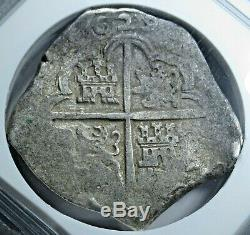 NGC VF30 1629 Spanish Silver 8 Reales Top Pop Antique Pirate Treasure Cob Coin