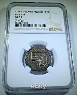 NGC VF35 1500's Spanish Mexico Silver 1 Reales Antique Philip II Pirate Cob Coin