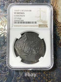 NGC VF 1666 Bolivia Silver 8 Reales Old Spanish Colonial Dollar Pirate Cob Coin