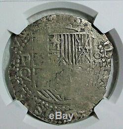 Nd(1613-1617) P Q Bolivia Felipe III Silver Cob 8 Reales Ngc Xf-40 L@@k