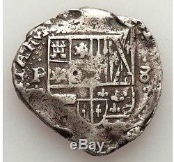 Nd(1621-1665) Potosi Bolivia Felipe IV Silver Cob 8 Reales L@@k