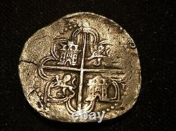 PHILIP 8 REAL COB PHILIPUS II SPANISH SILVER COLONIAL ERA ANTIQUE sevilla