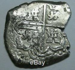 PHILIP III 1600s 2 REAL COB POTOSI SPANISH SILVER COLONIAL ERA BOLIVIA ANTIQUE