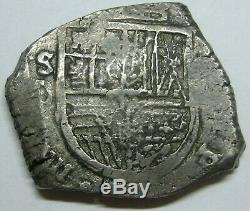 PHILIP III 8 REAL COB 1600s SEVILLA SPANISH SILVER DOLLAR COLONIAL ERA ANTIQUE
