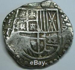 PHILIP III 8 REAL COB POTOSI ASSAYER T BOLIVIA 1600s SPANISH SILVER COLONIAL ERA