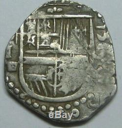PHILIP II 1500s 1 REAL COB SEVILLA ASSAYER P SPANISH COLONIAL ERA SILVER COB