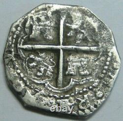 PHILIP II 1500s 1 REAL COB VALLADOLID ASSAYER D SPANISH COLONIAL ERA SILVER COB