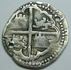PHILIP II 1 REAL COB 1500s POTOSI ASSAYER B SPANISH SILVER COLONIAL ERA BOLVIA