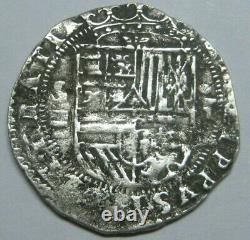 PHILIP II 1 REAL COB 1500s SEVILLA ASSAYER P SPANISH COLONIAL ERA SILVER COB