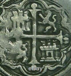 PHILIP II 1 REAL COB MEXICO 1500s ASSAYER O SPANISH SILVER COLONIAL ERA COB