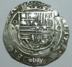 PHILIP II 1 REAL COB MEXICO ASSAYER O 1500s SPANISH SILVER COLONIAL ERA COB