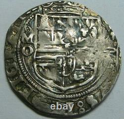 PHILIP II 2 REAL COB MEXICO 1500s ASSAYER O SPANISH SILVER COLONIAL ERA 5.52 gr