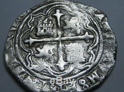 PHILIP II 2 REAL COB MEXICO 1500s ASSAYER O SPANISH SILVER COLONIAL ERA COB