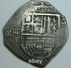 PHILIP II 4 REAL COB 1500s SEVILLA ASSAYER B SPANISH SILVER COLONIAL ERA COB