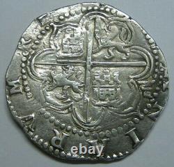 PHILIP II 4 REAL COB SEVILLA 1500s HIGH GRADE SPANISH SILVER COLONIAL ERA COB