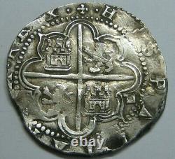 PHILIP II 4 REAL COB SEVILLA 1500s SPANISH SILVER COLONIAL ERA ANTIQUE COB