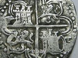PHILIP II 4 REAL COB SEVILLA 1500s SPANISH SILVER COLONIAL ERA ASSAYER P COB
