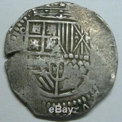 PHILIP II 4 REAL COB TOLEDO 1500s SPANISH SILVER COLONIAL ERA ANTIQUE COB