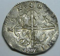 PHILIP II 4 REAL COB VALLADOLID ASSAYER A 1500s SPANISH SILVER COLONIAL ERA COB