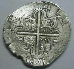 PHILIP II 8 REAL COB 1500s SEVILLA SPANISH SILVER DOLLAR COLONIAL ANTIQUE COB