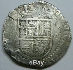 PHILIP II 8 REAL COB SEVILLA 1500s SPANISH DOLLAR COLONIAL ERA SILVER COB 27.36g
