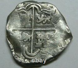 PHILIP IV 2 REAL COB POTOSI ASSAYER TR 1600s COLONIAL ERA BOLIVIA SILVER SPANISH