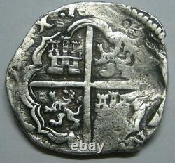 PHILIP IV 4 REAL COB SEVILLA 1600s SPANISH SILVER COLONIAL ERA ANTIQUE COB