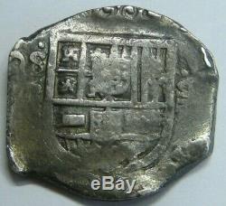 PHILIP IV 8 REAL COB 1600s SEVILLA ASSAYER R SPANISH SILVER DOLLAR COLONIAL ERA