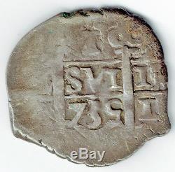 Peru 1735 Lima N Silver Cob 1 Real (km#31) Scarce
