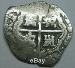 Philip III 2 Real Cob Sevilla Spanish Silver Colonial Era Assayer R Silver Cob