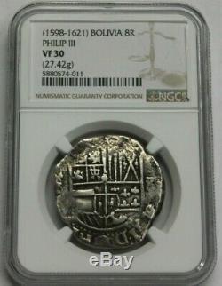 Philip III 8 Real Cob Potosi 1598-1621 Bolivia Ngc Vf30 Spanish Silver Colonial