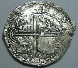 Philip II 2 Real Cob Sevilla Assayer D Spanish Colonial Pirate Silver Coin