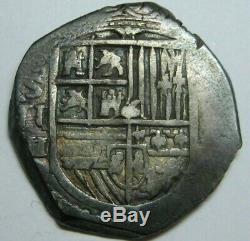 Philip II 2 Real Cob Sevilla Assayer H Spanish Colonial Pirate Silver Coin