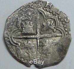 Philip II 2 Real Cob Sevilla Assayer P Spanish Colonial Pirate Silver Coin