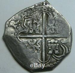 Philip II 4 Real Cob Sevilla Assayer B Beautiful Coin Spain Colonial Scarce